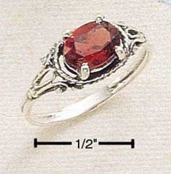 CR-191 : STERLING SILVER OVAL SIDE LYING GARNET W/ DAINTY ANTIQUED SHANK