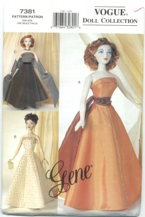 Gene 15 1/2 inch Fashion Doll Sewing Pattern 50's Ball Gowns 7381 NEW