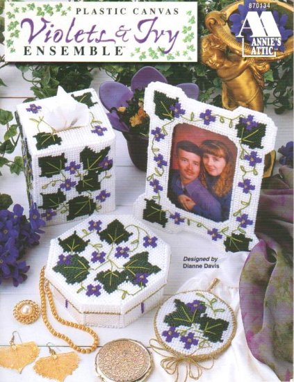 Violets & Ivy Ensemble Vanity Set, Plastic Canvas NEW