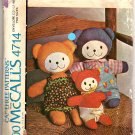 Vintage Pattern To Sew Stuffed Bear Family and Outfits 4714