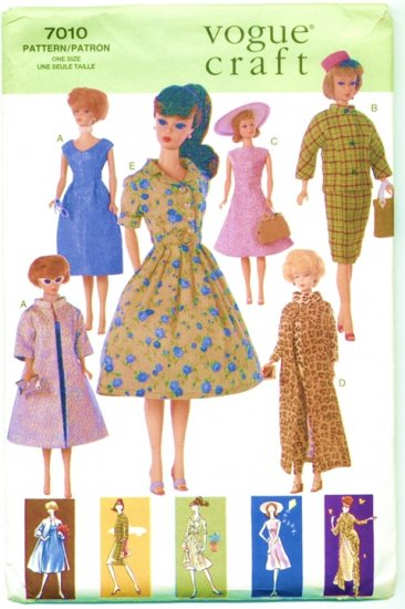 Barbie Retro 60�s Fashions Sewing Pattern 7010 NEW