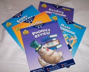 School Zone Home Learning Workbooks-Lot 5 books Grade 2-4