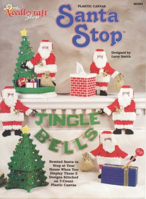 Santa Stop Christmas Home Decorations Plastic Canvas, New