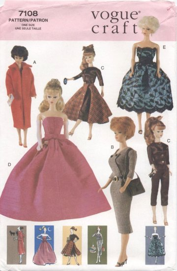 Barbie Retro 60�s Fashions Sewing Pattern Vogue Craft  7108 NEW