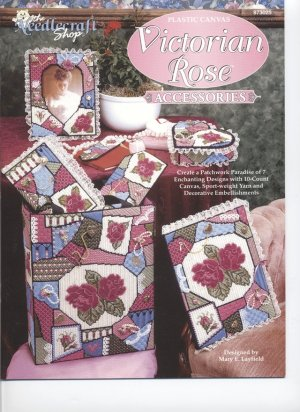 Victorian Rose Accessories, Home Decor Floral Designs, Plastic Canvas  NEW