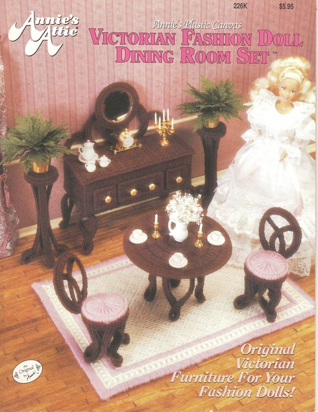 Barbie Victorian Fashion Doll Dining Room Set Pattern Plastic Canvas