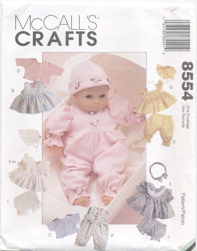 Baby Doll Wardrobe Size 8�-16� (20.3cm-40.6cm) McCall's Crafts 8554  NEW