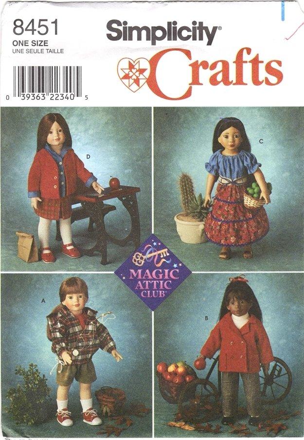 Magic Attic Doll Clothes Pattern 18� (45.7cm) Simplicity 8451