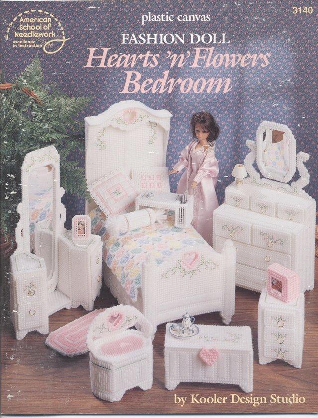Barbie, Fashion Doll Hearts n Flowers Bedroom, Plastic Canvas Pattern Book 3140
