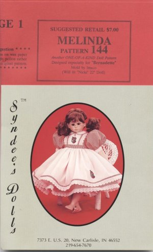 Melinda dress pattern for 22� porcelain doll, Syndee�s Dolls, 144 NEW