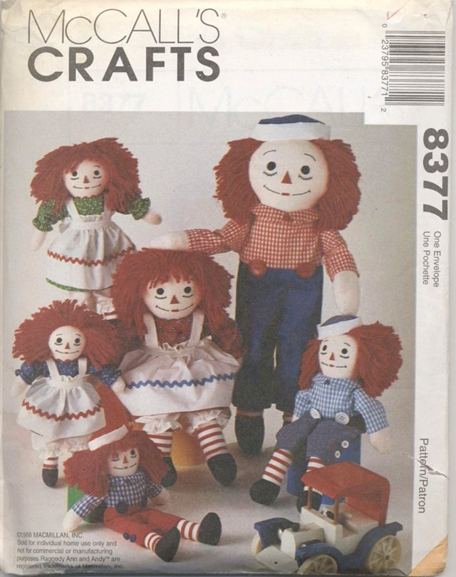 Raggedy Ann and Andy Soft Dolls and Clothes, Multiple Sizes McCalls Craft 8377 NEW