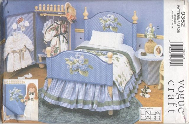 Bedroom Furniture and Accessories, 18� Doll, Vogue Craft 9352 NEW