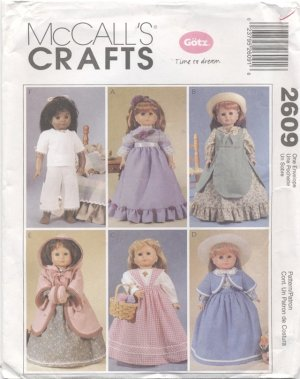 Historical Clothes for Gotz, Magic Attic or American Girl 18� Doll, McCall�s Craft 2609 NEW