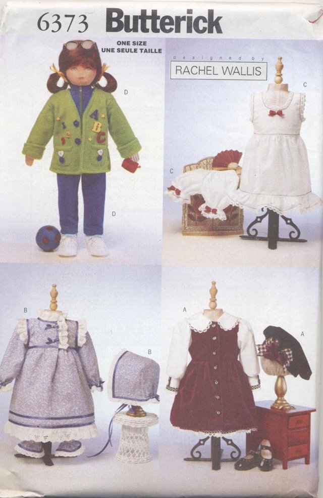 Doll Wardrobe for 23� (58.4 cm) Soft Dolls Butterick 6373 NEW