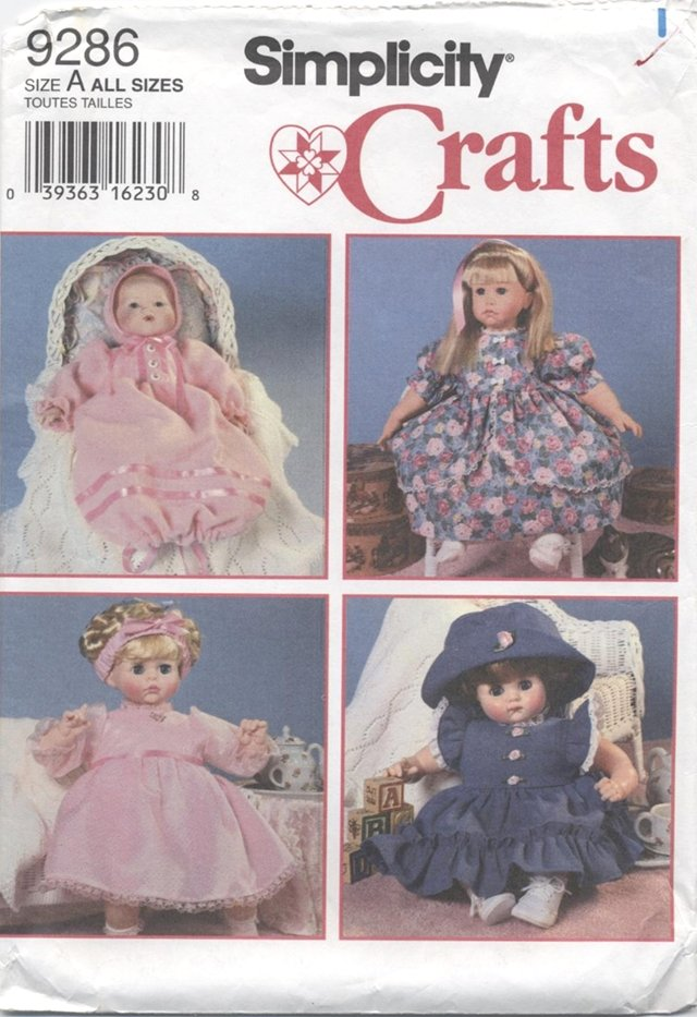 Design Your Own Doll Clothes for dolls 12� � 22� Simplicity Craft  9286 NEW