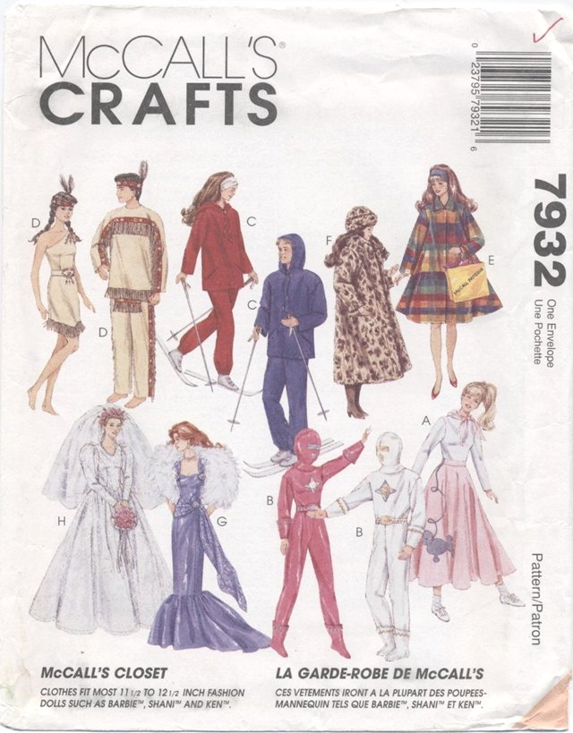 Barbie 11 ½� Fashion Doll Costume Patterns McCall's Crafts 7932