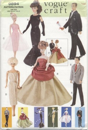 Barbie and Ken 11 ½� Fashion Doll Retro 60's Evening Gowns Vogue Craft 9894 NEW