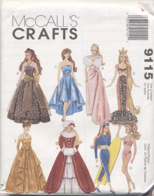 Barbie 11 ½� Fashion Doll Modern 1990s Gowns McCall�s Crafts 9115 NEW
