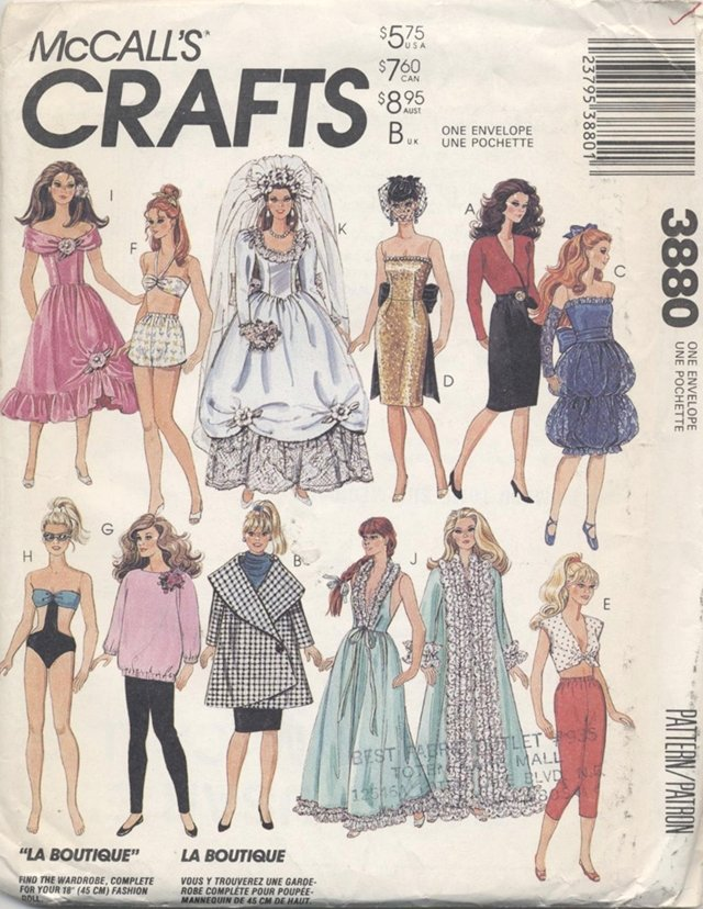 Barbie 11 ½� Fashion Doll Modern Wardrobe McCall�s Crafts 3880