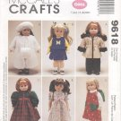 "Doll Wardrobe, 18"" American Girl or Gotz Type Dolls McCall's Crafts 9618 NEW"