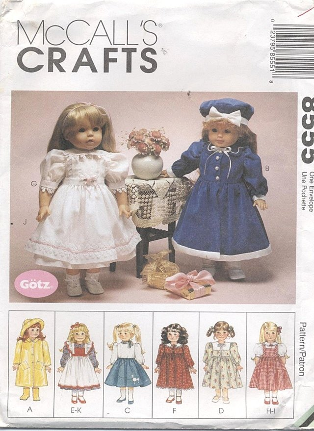 American Girl or Gotz Type 18� Doll Wardrobe McCall�s Crafts 8555 NEW