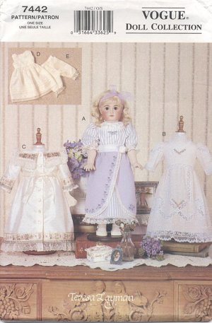Heirloom Style Dresses with Lace and Pin Tucks for 18� Doll Vogue Doll Collection 7442 NEW
