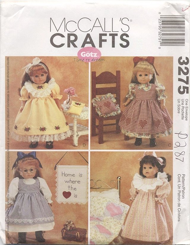 Sweet Dresses for 18� American Girl Type Dolls McCall�s Crafts 3275 NEW