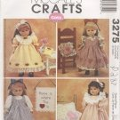 "Sweet Dresses for 18"" American Girl Type Dolls McCall's Crafts 3275 NEW"