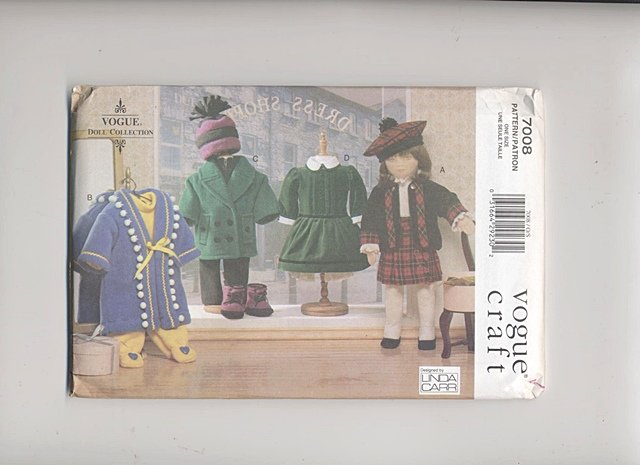 Doll Wardrobe, 18� American Girl or Olivia Type Dolls Vogue Craft 7008 NEW