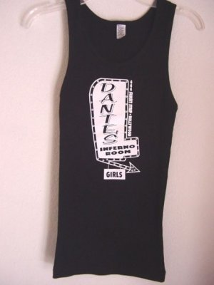 BLACK RIBBED GRAPHIC TANK TOP - DANTE'S INFERNO ROOM