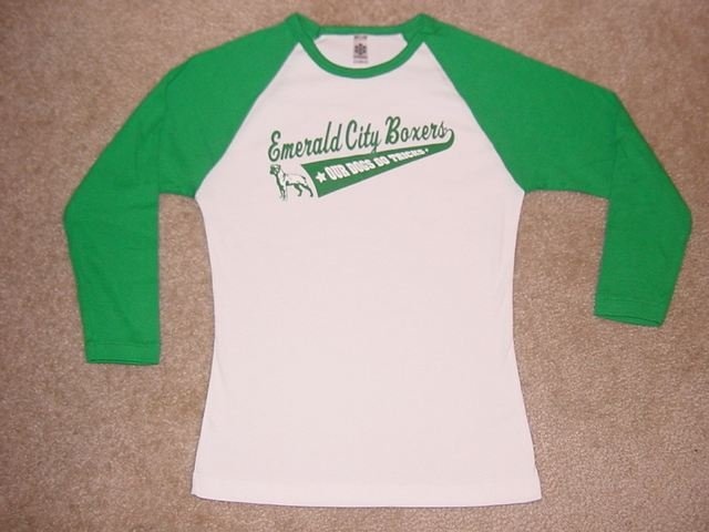 GREEN & WHITE BOXER DOG GRAPHIC RAGLAN 3/4 SLEEVE JERSEY T-SHIRT - Our Dogs Do Tricks