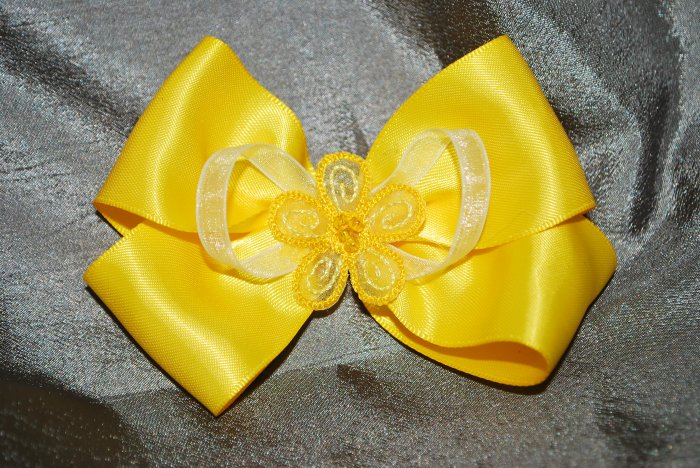 Yellow & Sheer Flower Bow