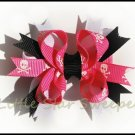Hot Pink Skull Bitty Stacked Bow