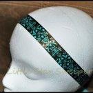Chocolate/Teal Damask Headband