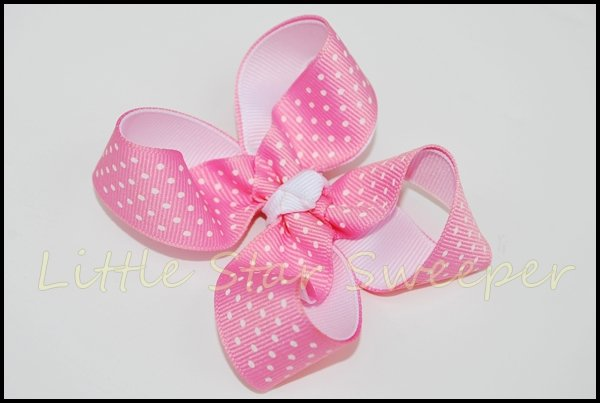 Pink & White Swiss Dot Twisted Bow