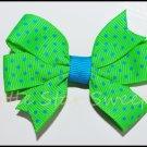 Apple & Turquoise Swiss Dots Pinwheel Bow
