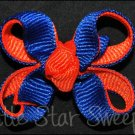Bitty Double Delight Bow - Orange & Blue