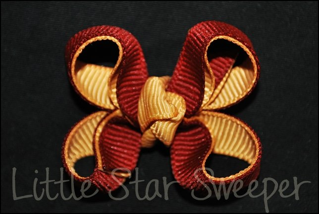 Bitty Double Delight Bow - Maroon & Gold