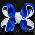 Bitty Double Delight Bow - Blue & White