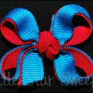 Bitty Double Delight Bow - Turquoise & Fuchsia