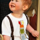 Little Fella Suspender Shirt - Mod Squares