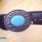 Genuine Leather Belt - Large Simulated Turquoise Buckle