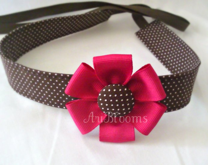 Adjustable fabric headband Brown Polka Dots with a Hot Pink ribbon flower