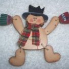 Wooden Snowman Holiday Lapel Pin