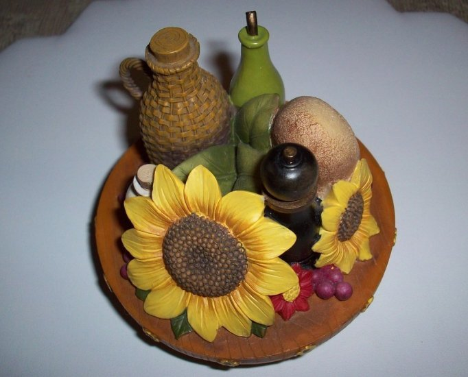 Tuscan Candle Topper With Sunflowers and Pottery Items