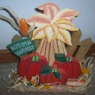 Autumn Harvest Wood Sign WIth Pumpkins and Corn Stocks