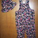 Handmade Black Polka Dot with Teddy Bears Overalls 4T