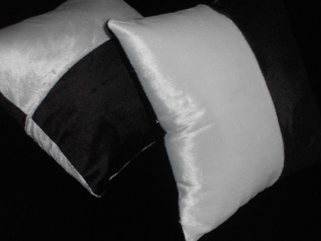 Two half- Black & half-White Faux Fur Throw Pillow, Pillows, New
