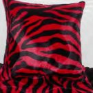 Two Red and Black Zebra Faux Fur Throw Pillows, Pillow, New