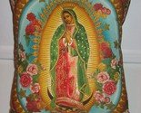 Virgin Guadalupe pillow roses and gold oval New!